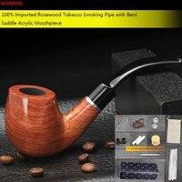 MUXIANG 10 Kit de Herramientas Pipa de Fumar 9mm Filtro de Tabaco De Pipa Rosewood Bubinga para Principiantes Colección o un Regalo para Los Hombres ad0009