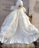 2018 Hot sale Lolita Christening Gown Handmade Baby Girl Baptism Dresses Lace Applique With bonnet