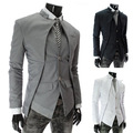 Mens Blazers 2014 Single Breasted Men's Blazer Casual Jacket Designs Suit Male Down Jacket Brazil Style Asymmetry Free Shipping