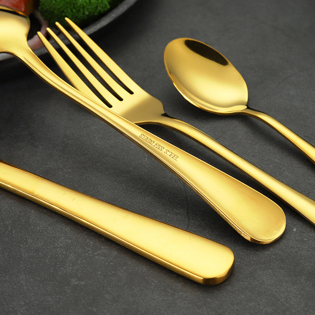 24 Pcs Gold Cutlery Set Stainless Steel Silverware Spoon Fork Knife Dinnerware Set Home Party Tableware with Box Best Gift