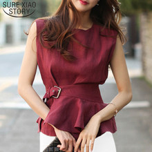 Mode Shirts 2019 O-hals Mouwloze Belted Peplum Blouse Elegante Stijlvolle Rode Zomer Tank Top Femme Chemise Vrouwen 4144 50(China)