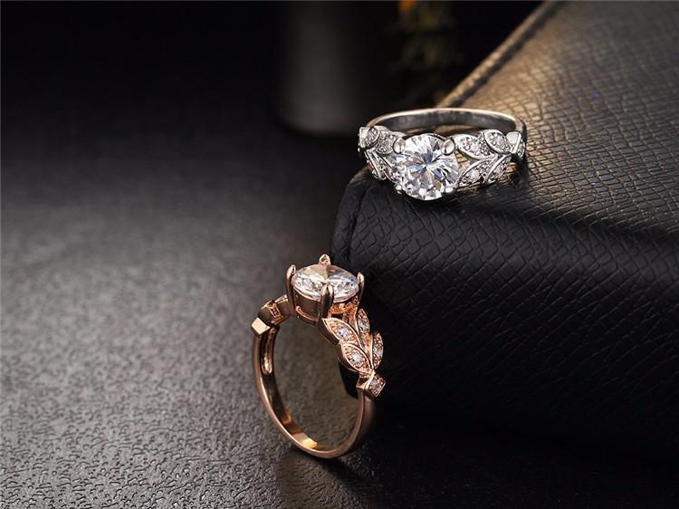 خاتم زفاف لون زهبي او فضي مع مكعب الزركون 8
