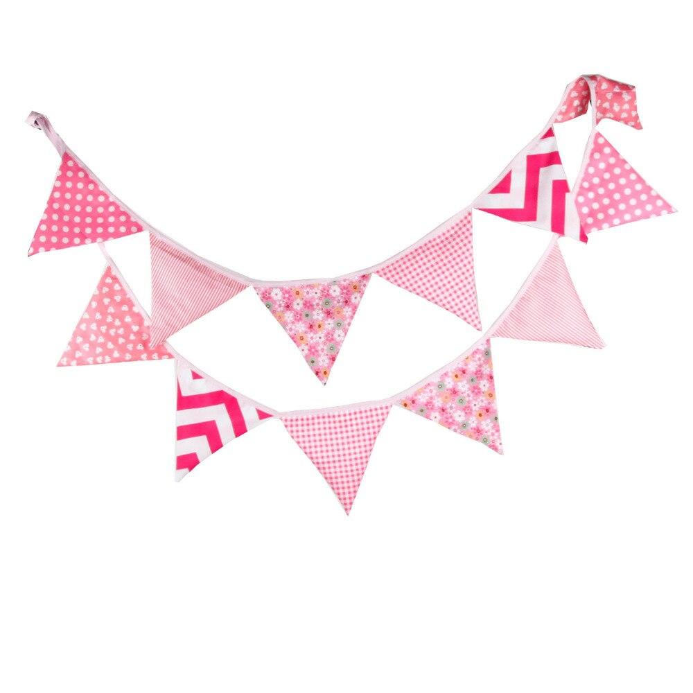 1pcs 3.2M 핑크 꽃 하트 베이비 사진 멧새 배너 결혼식 웨딩 생일 파티 코튼 페넌트 홈 데코 레이팅 플래그