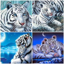 Huacan Diamond Embroidery Full Display Animal Rhinestones Pictures 5D DIY Diamond Painting Tiger Full Square Mosaic Home Decor