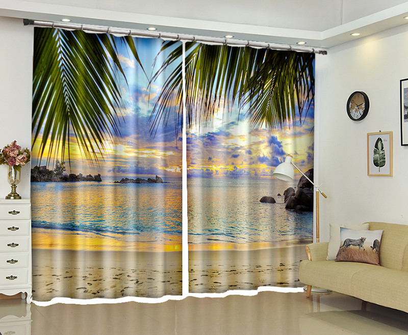 Seaside scenery 3d Curtains For Living Room Window Treatments Modern Curtains For Beding Room living room High-precision Shade