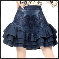 Ruffle Layered Denim Skirt Womens 2017 New Fashion Embroidery Pattern Vintage Design Free Shipping