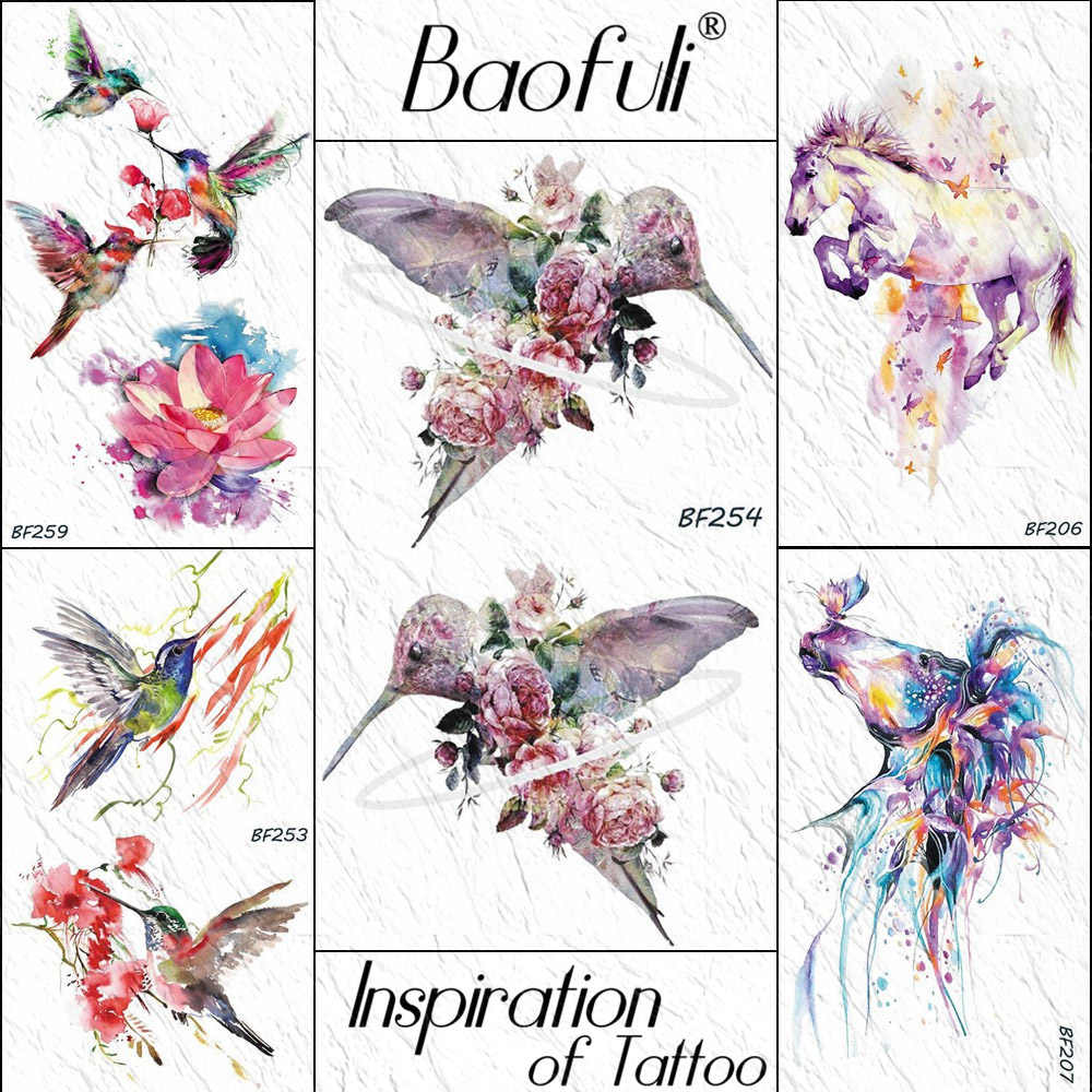 5c53480fa BAOFULI Fly Hummingbird Birds Peony Rose Leaves Temporary Tattoo Sticker  Flower Blossom Watercolor Tattoos Bouquet Fake