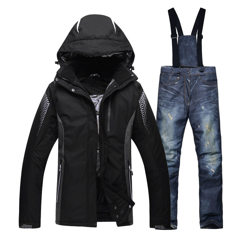 -30 black women and men Snow suit sets snowboarding clothing waterproof winter Costumes skiing suit sets jackets +bibs pants 2016 new skiing jackets and pants winter women snow suit sets windproof waterproof breathable women skiing suit warm