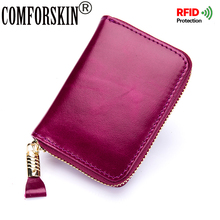 COMFORSKIN RFID Protection Card Case 2018 Luxurious 100% Genuine Oil Waxing Leather Multi-Card Bit Business Credit Holders