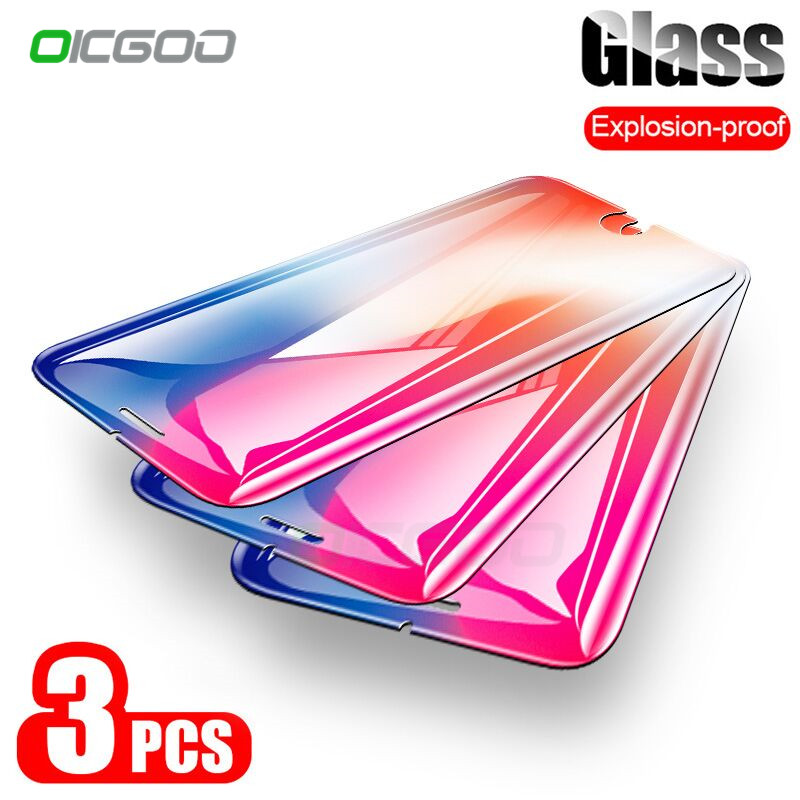 OICGOO Tempered Glass On The For IPhone 7 8 6 Plus 5 5S SE Screen Protector For IPhone 6 6s Plus 5S Xr X XS Max Protective Glass