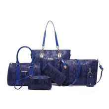 2017 nuevo bolso de las mujeres bolsos de serpentina 6 unids/set a granel bolsas de hombro messenger bag Retro