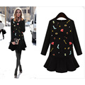 2017 Women Vintage Long Sleeve Flower Floral Embroidery Black Dress Elegant Vestidos Casual Round Collar Ruffle Dresses 5XL6XL