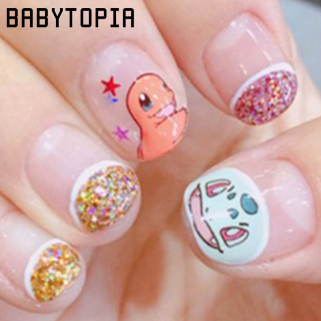 1 Stks Franse Manicure Water Transfer Nagels Sticker Catoon Pokemon