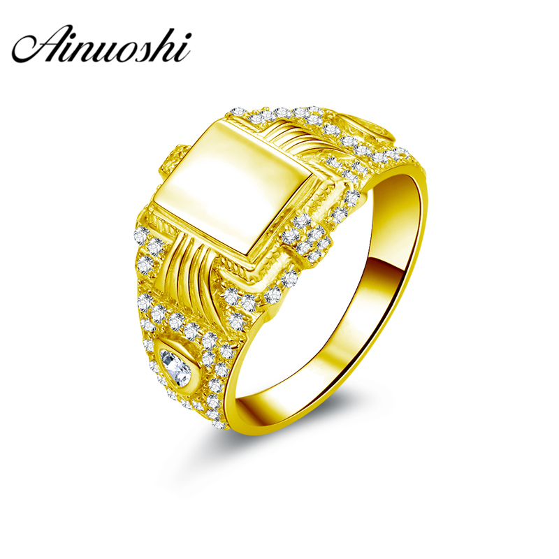 AINUOSHI Luxury Smooth Gold Men Ring 10K Solid Yellow Gold Ring Complex Design Band Engagement Wedding Jewelry 5.4g Wedding Band кольцо s j063 wedding band ring