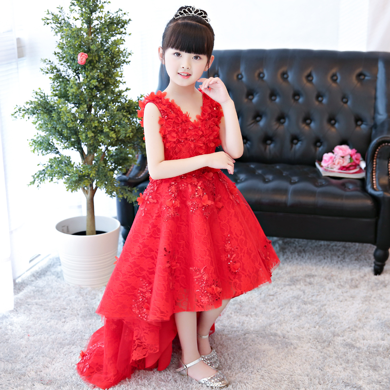 2018 spring flower girl wedding prom mullet gown children's princess trailing costume ceremony party formal dresses clothes 5 16y teenage girls white long high waist flower princess wedding dress kid prom costume formal gown clothes for girl ceremony