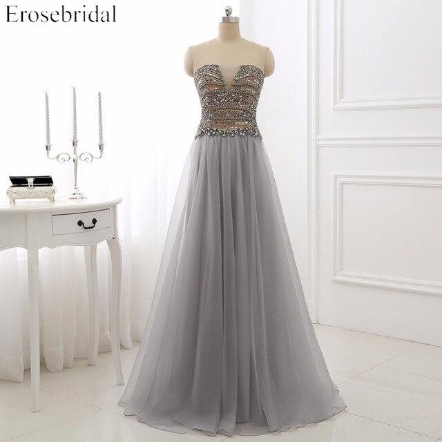 Luxury Beading Evening Dresses Erosrbridal Long A Line Prom Party Gowns Lace Up Back Sexy Deep V Neck Vestido De Festa AR-B6