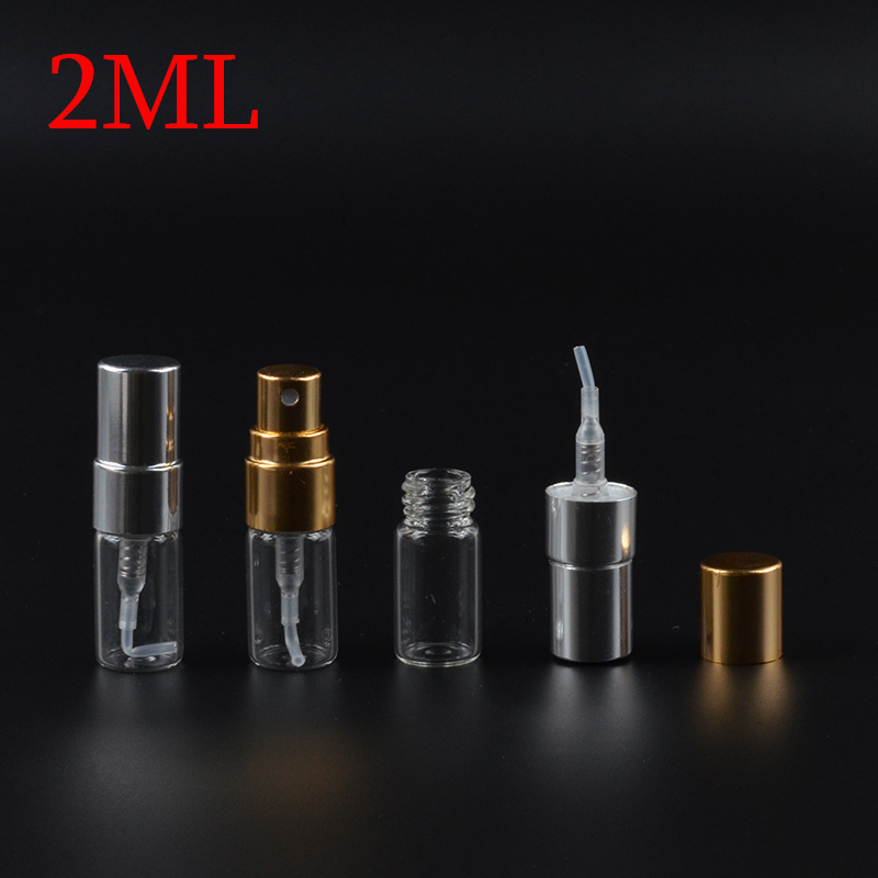 MUB 2ML 100Pieces lot Mini Glass Perfume Bottles With Metal Spray Empty Parfum Case Refillable Perfume