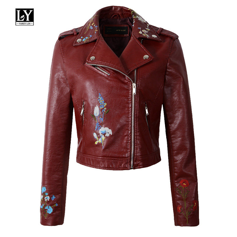 Ly Varey Lin New Women Slim Pu Faux Soft Leather Jacket Embroidery Floral Print Black Motorcycle Bomber Leather Jacket Coat