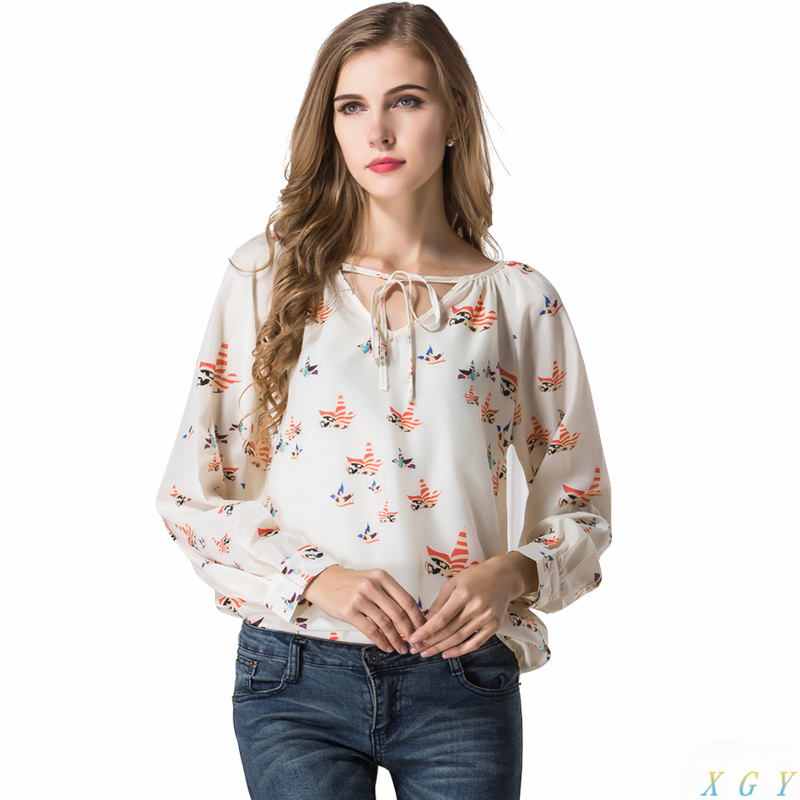 New Arrivals 2017 Spring Women Blouse Casual Floral Chiffon Lady  Tops Tether Long Sleeve Bird Blouse Fashion Clothing Gifts
