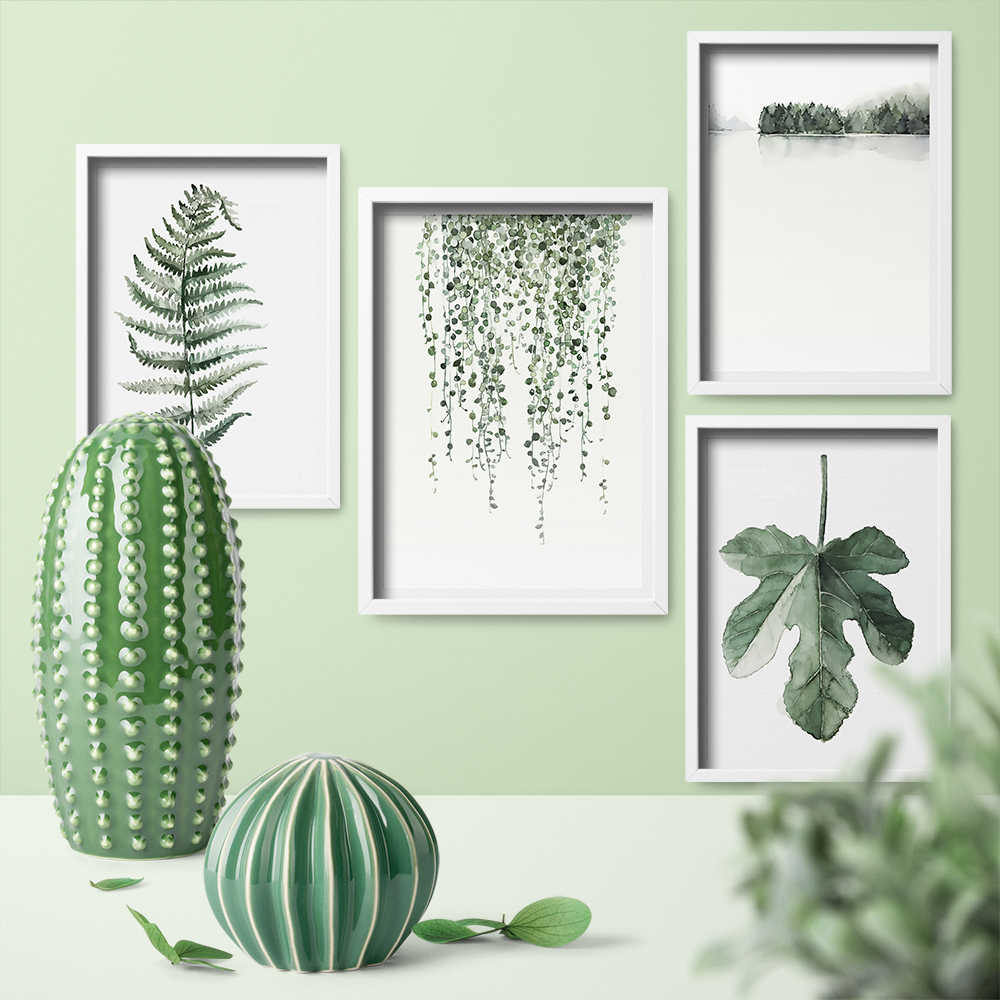 Nordic Watercolor Plant Cactus Leaf Poster Print Landscape Wall Art Canvas Painting Picture for Living Room Home Decor Framless