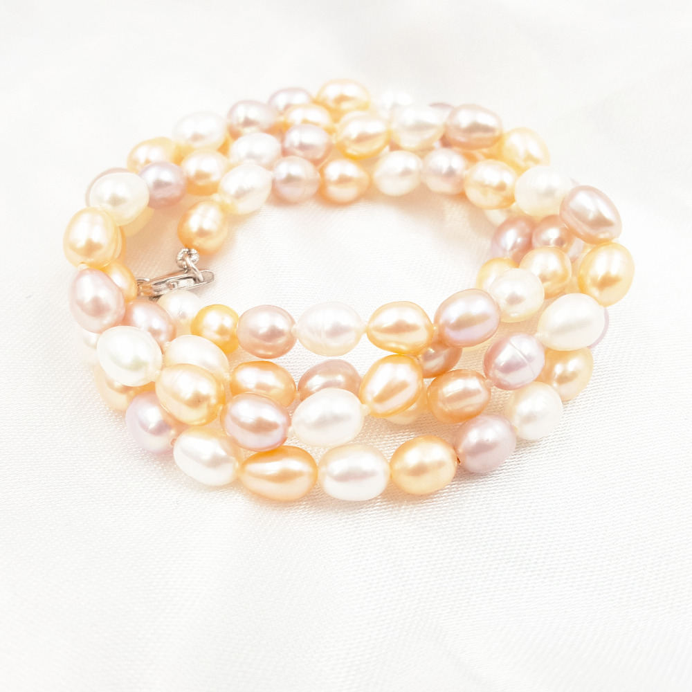 Natural Multi Color Freshwater Pearl Rice Shape Necklace Bracelet 18cm/7'' Earring 925 Sterling Silver Jewelry Set Party Gift 2 3mm red natural agate necklace multi layers 925 sterling silver with real pearl fine womne jewelry wedding party necklace