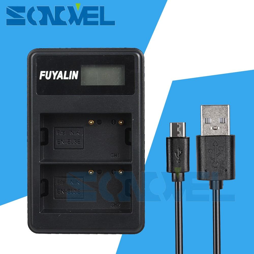 USB LCD Double Chargeur de Batterie EN-EL3e + pour Nikon EN-EL3e D700 D300S D300 D200 D100 D90 D80 D70S D70 D50 MH-18A