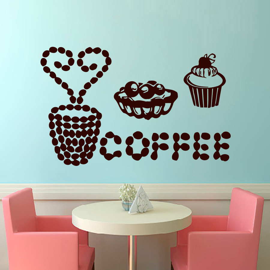 Coffee Desserts Vinyl Wall Sticker For Kitchen Room Cooking House ...