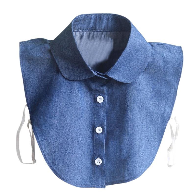 Women Detachable Collars Blue Fake Lapel Collar Clothes Detachable Shirts False Denim Collar