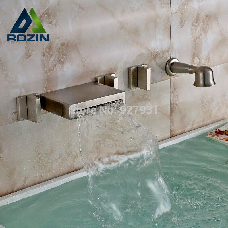 Wall <font><b>Mounted</b></font> Brushed Nickel Waterfall <font><b>Roman</b></font> Bathroom Bath <font><b>Tub</b></font> Faucet Widespread 5pcs 3 Handles