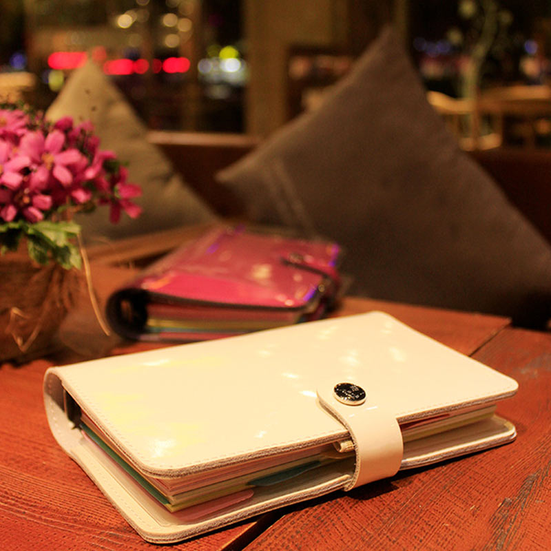 Image 3 - 2019 Yiwi Korea A5 A6 Genuine Leather Solid Color Loose Leaf Planner Dairy Binder Notebook-in Notebooks from Office & School Supplies