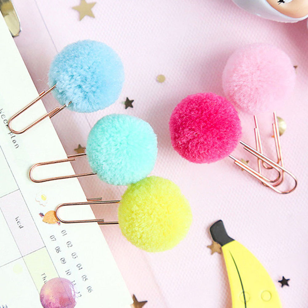 10Pcs/set Cute Hairball Rose Gold Cilp Modelling Paper Clip Fashion Business Office Lady Style Office Stationery Set