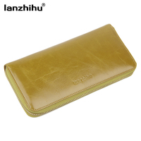 New 2015 Fashion Oil Wax Leather Women Wallets Vintage Multifunction Long Style Women S Clutch Bag