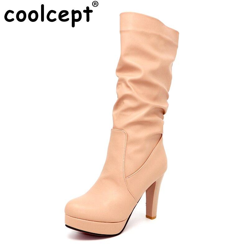 Coolcept Plate-Forme Des Femmes Mi-mollet Bottes Femme À Talons Hauts Bootines Mujer Dames Élégantes Automne À Talons Hauts Chaussures Chaussures Taille 34-43