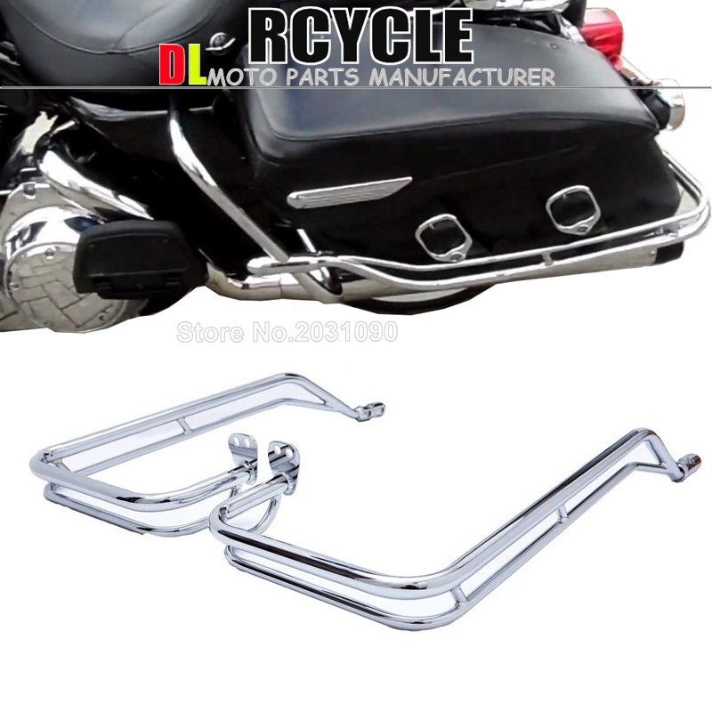 Chrome Motorcycle Twin Side Saddlebag Rail Guard Bar Kit Passenger Side Box Bag Guard Protection for