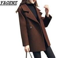 Nuevo Otoño/Invierno chaqueta Abrigos ropa moda casual Delgado temperamento abrigo cálido invierno lana chaqueta femenina XS