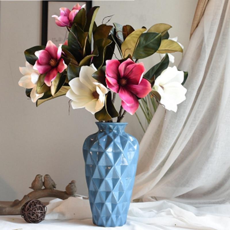 Silk Flower Wedding Bouquets For Sale: Hot Sale Artificial Fake Flower Leaf Magnolia DIY European