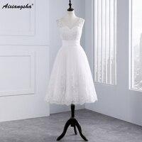 Elegant A Line Lace Wedding Dresses 3 4 Sleeve Open Back Lace Bridal Gown Vestidos De