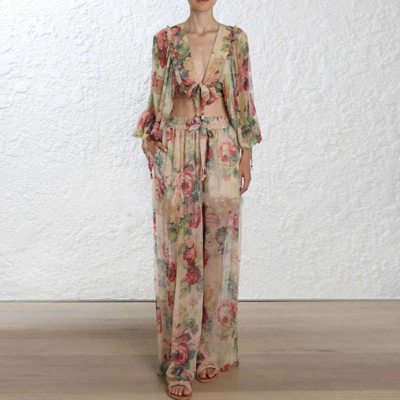 Высокое качество 2018 дизайнер подиума Бохо цветочный принт пляжная блузка наборы женщин v-образным вырезом короткий топ и amp длинные брюки элегантная свободная ткань