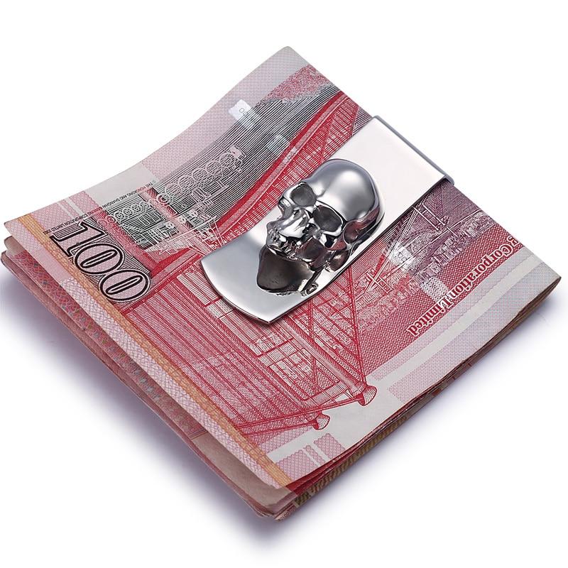 Moderní - Zbrusu nové 2017 Lebky vzory Muži Sliver Money Clip Slim kapesní kufr svorka Pokladna držitel karty Organizér Muži ženy Peněženka