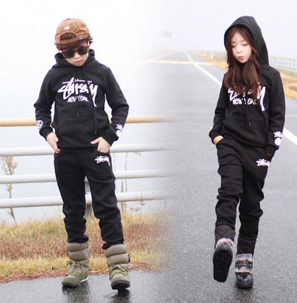 2016 spring Autumn children's clothing set Costumes Black Hip Hop dance pants & Pullover sweatshirt sport suits twinset 2016 kids adults spring summer geometric star set black costumes hip hop dance pants