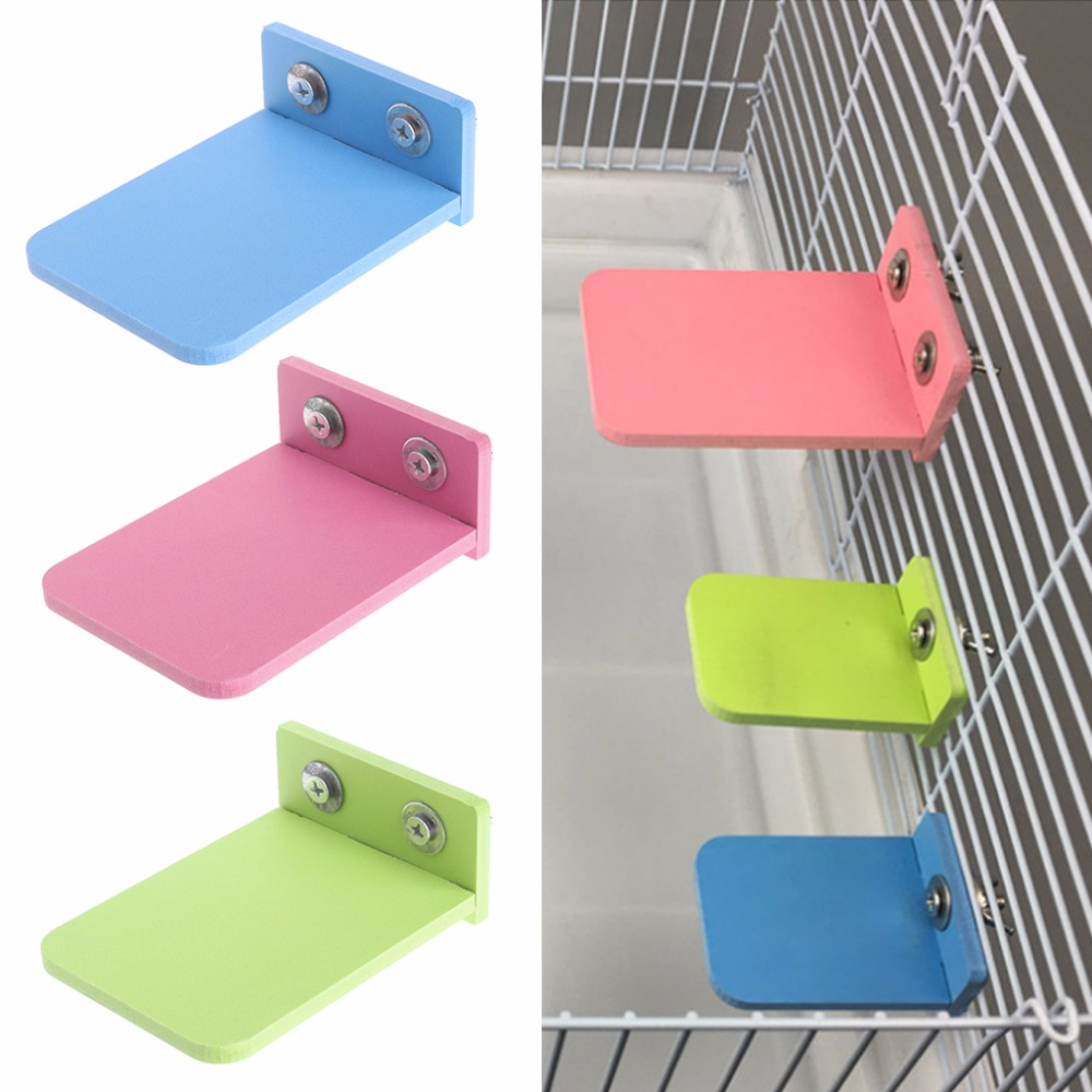 1Pc Hamster Platform Stand Rack Toy Rectangle Squirrel Cage Accessories Colorful Wooden Plate Toys Small Pets Supplies S/L C42