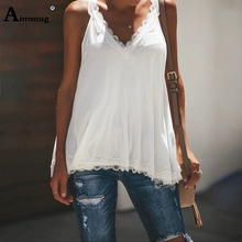 Aimsnug Boho Solid Lace Splice Lady Tops V-neck Sleeveless Summer Casual Loose Women Tanks Top Female Camis Plus Size 4xl 5xl