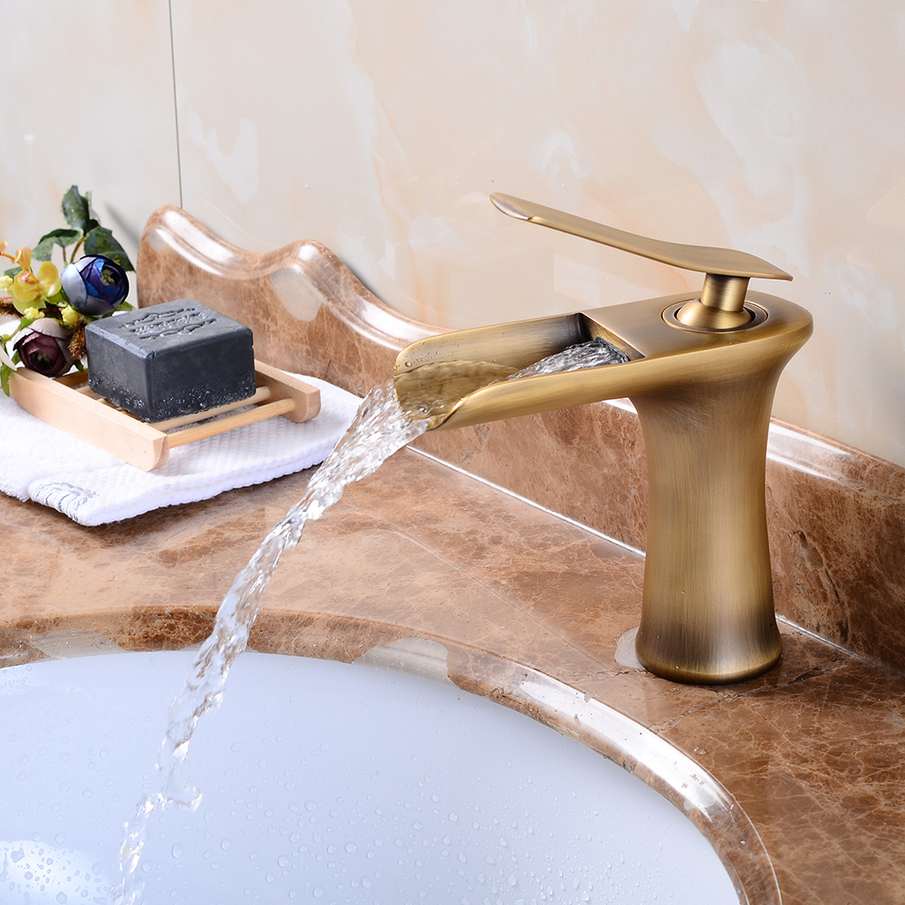 Bathroom Basin Faucets Antique Brass Waterfall Faucet Vanity Vessel Sink Taps Cold And Hot Mixer Deck