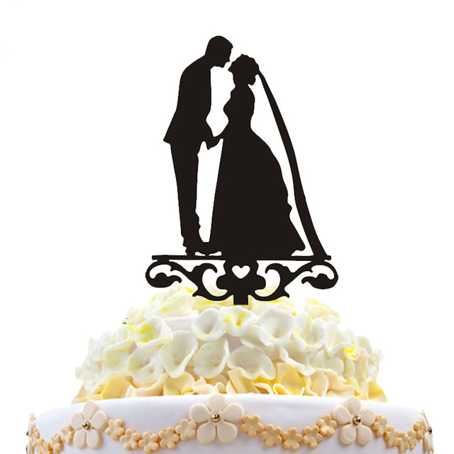 HAOCHU Hot Sale Wedding Cake Topper Kiss Dog Flower Heart Mr Mrs Elephants Acrylic Black Romantic