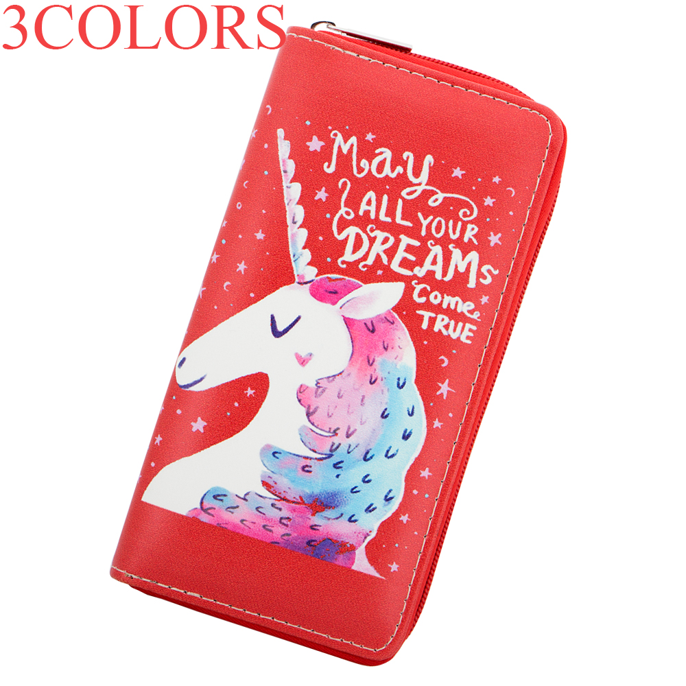 Sansarya 2018 Cute Lovely Unicorn Bag Printed Women Wallet Female Purse Clutch Bag with May All Your Dreams Come Ture Print