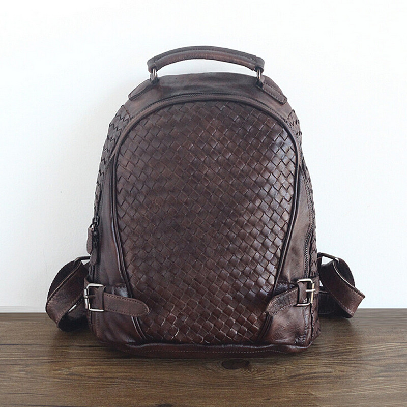 Unisex 100% Genuine Vegetable Tanned Leather Backpacks Genuine Leather Vintage Backpack Brown Bags Male Female Fashion Backpack Choice Materials Backpacks Luggage & Bags