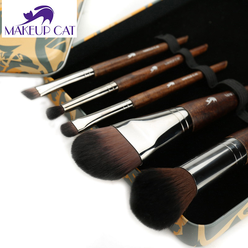 где купить Makeup Cat 5pcs/Set Make Up Brushes Sets Professional Portable Makeup Brush Set Beech BASF Synthetic Hair Pattern Case по лучшей цене