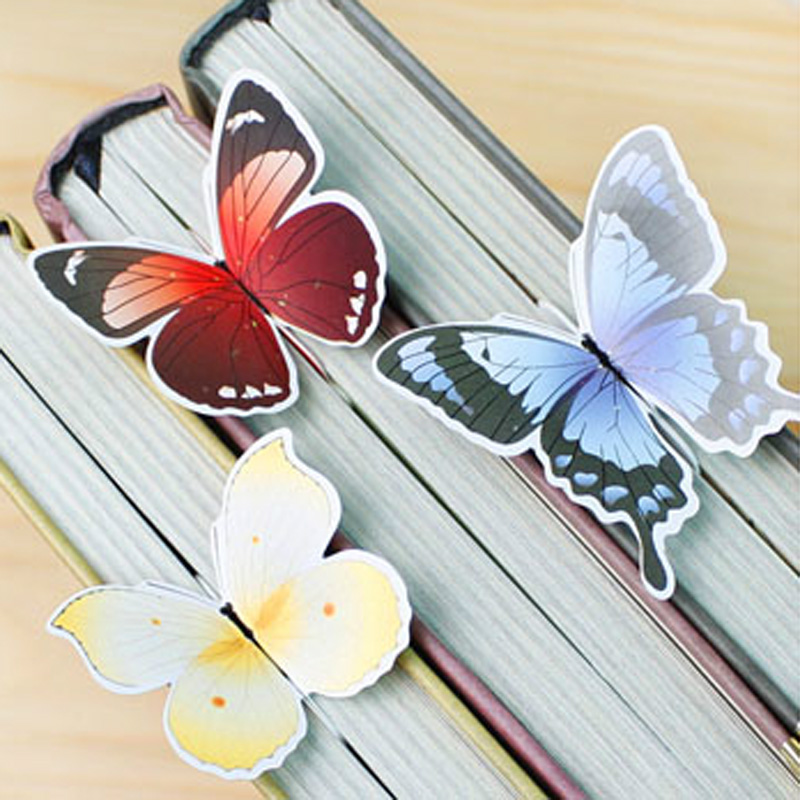 1 set Bookmark Butterfly Style Teacher's Gift Book Marker Stationery Gift Realistic Cute Kawaii Cartoon 3d Bookmark 2