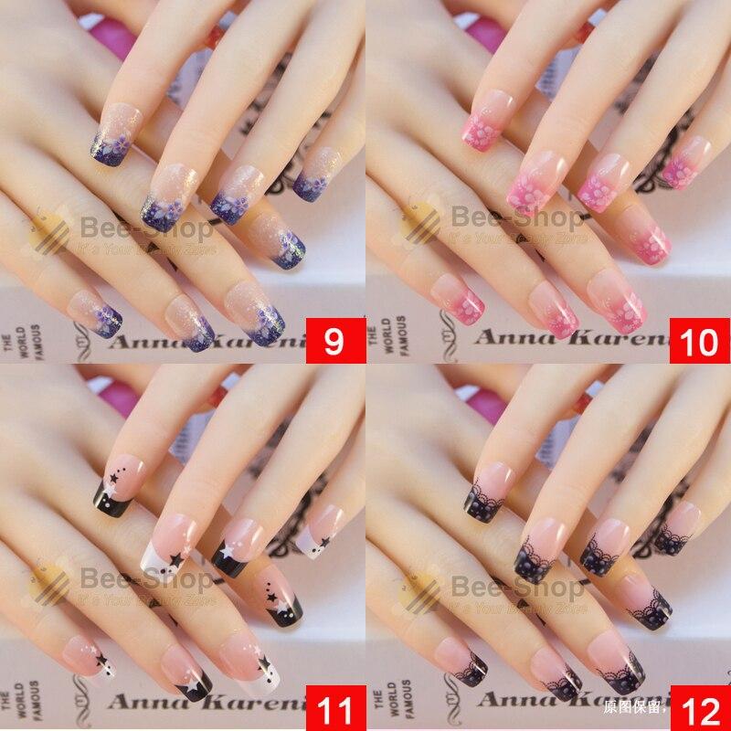 24 Pcs/set Nail Tips Acrylic False Nail 32 Styles Mixed For Choose ...