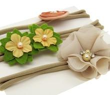 3 lovely Flowers Kids Headband Elastic Hair Band Headwear Kids Hair Accessories EASOV W255
